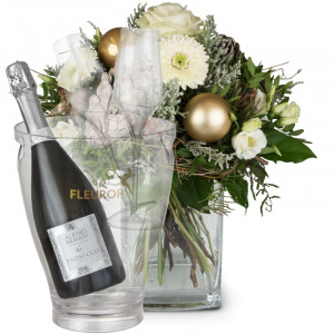 Winter Fairytale with Prosecco Albino Armani DOC (75 cl), incl. ice bucket and two sparkling wine flutes
